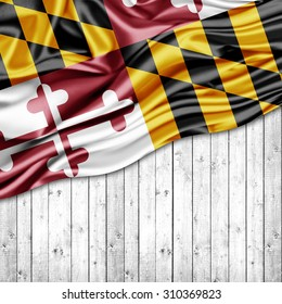 Maryland  flag of silk with copyspace for your text or images and wood background