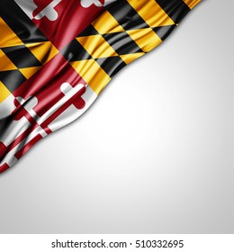 Maryland flag of silk with copyspace for your text or images and white background-3D illustration