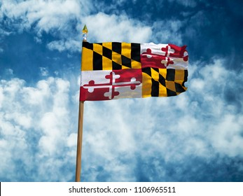 Maryland flag USA flag Silk waving flag made transparent fabric of Maryland US state with wooden flagpole gold spear on background sunny blue sky white smoke clouds real retro photo 3d illustration
