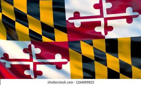 Maryland flag. Waving flag of Maryland state, United States of America. 3d illustration