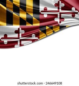 Maryland flag and white background