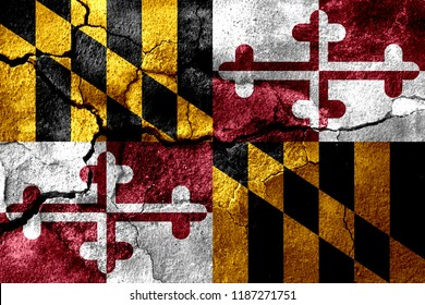 Maryland rusted cracked flag, rusty background. United States of America earthquake