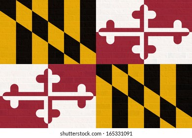 Maryland state flag of America on brick wall, isolated on white background.