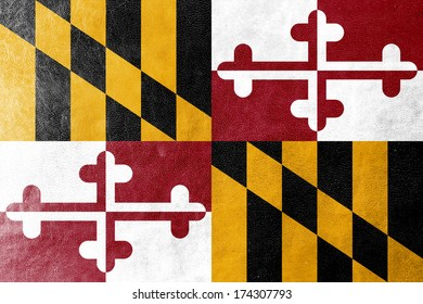 Maryland State Flag painted on leather texture