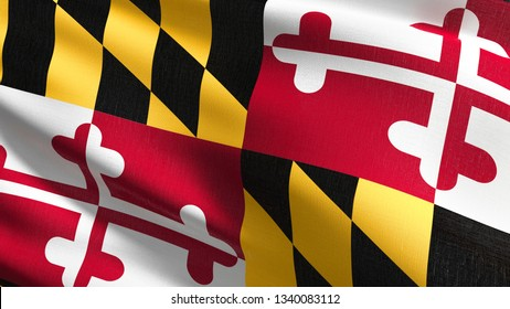 Maryland state flag in The United States of America, USA, blowing in the wind isolated. Official patriotic abstract design. 3D rendering illustration of waving sign symbol.