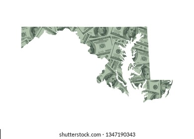 Maryland State Map and Money Concept, Hundred Dollar Bills
