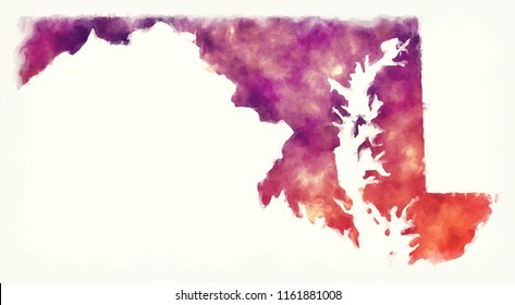 Maryland state USA watercolor map in front of a white background