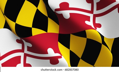 Maryland United States of America State flag waving on wind.