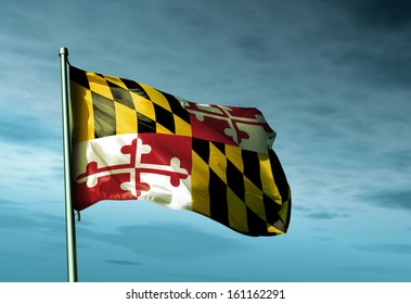 Maryland (USA) flag waving in the evening