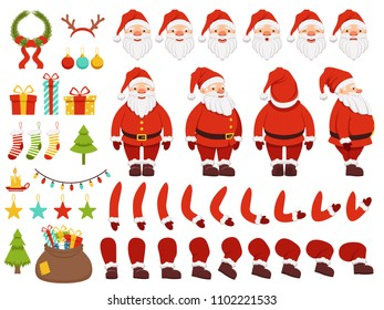 Mascot creation kit of christmas character. Santa in different keyframes. Santa claus with beard in xmas costume. illustration