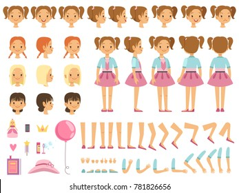 Mascot creation kit of little girl and some children toys. constructor with fun emotions and different body parts. Constructor person character female illustration