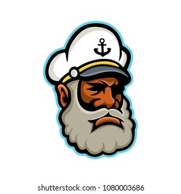 Mascot icon illustration of head of a black skipper or sea captain, ship's captain, captain, master or shipmaster, a mariner in command of merchant vessel on isolated background in retro style.