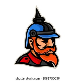 Mascot icon illustration of head of a Prussian officer wearing a pickelhaube or pickelhelm, a spiked helmet worn nineteenth and twentieth centuries by German military viewed from side in retro style.