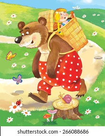Masha and the bear. A Russian fairy tale. Illustration for children