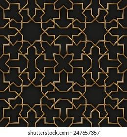 Mashrabiya Style Pattern on Black and Gold