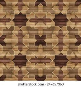Mashrabiya Style Pattern in Wood Blocks