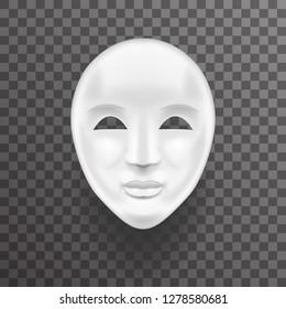 Mask Antique White Face Realistic Transperent Icon Template Background Mock Up Design  Illustration