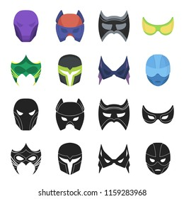 Mask on the head and eyes. Super Hero Mask set collection icons in black,cartoon style bitmap symbol stock illustration web.