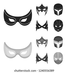 Mask on the head and eyes. Super Hero Mask set collection icons in black,monochrome style bitmap symbol stock illustration web.