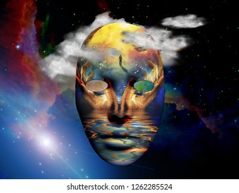 Mask with surreal painting in the space. 3D rendering