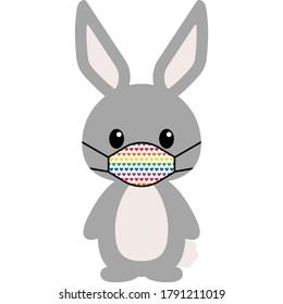 Masked Animal Illustration - Cute drawing of cartoon animal wearing face mask