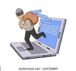 Masked burglar jumping out of notebook with bag full of code on his shoulder. Gigital theft. Flat illustration. Isolated on white background. Raster version.