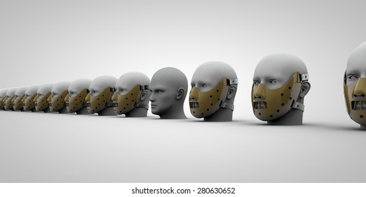 Masked heads in a row with a unmasked head in the middle