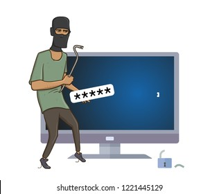 Masked robber with a puller hacking computer. Robber hacked computer password with pry bar. Comic illustration. Isolated on white background. Raster version.