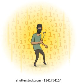 Masked robber with a puller on digital stream background. Hacker with the puller. Comic illustration. Raster version.