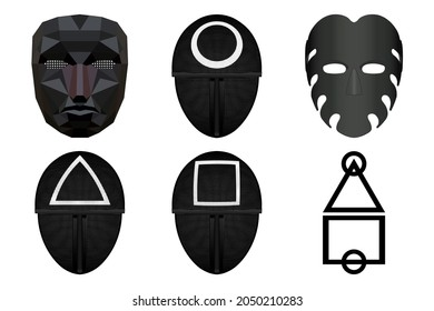 Masks of the beholder, soldiers and servants from the movie The Squid Game, the main characters