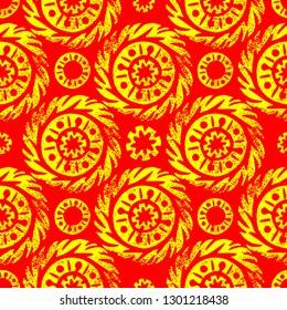 Maslenitsa, Shrovetide. Russian traditional spring holiday. Circular sun ethnic ornament. Print linocut. Seamless pattern