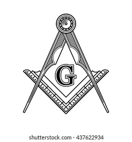 Masonic Freemasonry Emblem Icon Logo. illustration