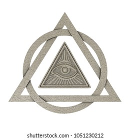 Masonic Symbol Concept. All Seeing Eye inside Pyramid Triangle as Stone on a white background. 3d Rendering