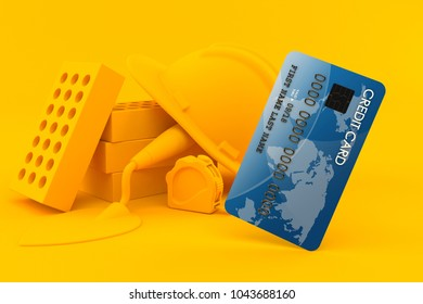Masonry background with credit card in orange color. 3d illustration