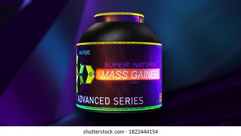 Mass Gainer supplement container. Colorful sport dietary nutrition package, Mass Gainer  3D illustration