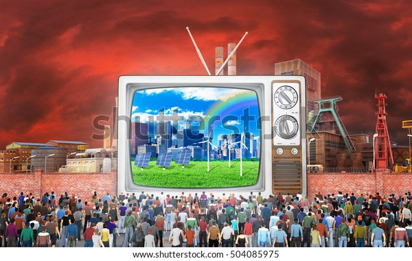 Mass media concept. Crowd of people near fence watch to old tv. On the screen, good image. Behind the fence a bad image.  Concept of propaganda and zombie society. 3d illustration