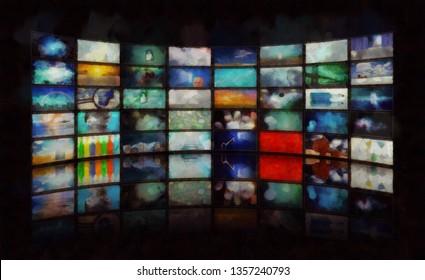 Mass media. Wall of TV's screens. 3D rendering
