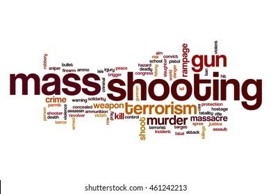 Mass shooting word cloud