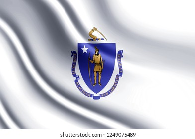 Massachusetts 3D waving flag illustration. Texture can be used as background.