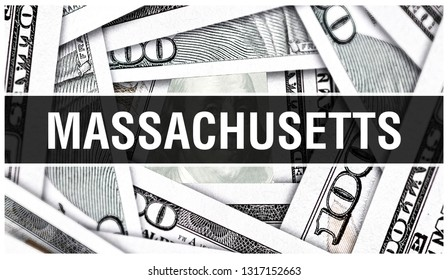 Massachusetts Closeup Concept. American Dollars Cash Money,3D rendering. Massachusetts MIT at Dollar Banknote. Financial USA money banknote and commercial money investment profit concept MIT