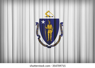 Massachusetts flag pattern on the fabric curtain,vintage style