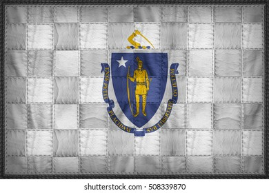 Massachusetts flag pattern on synthetic leather texture, 3d illustration style