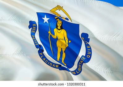 Massachusetts flag state. 3D Waving flag design. US state flags of Massachusetts and Boston, 3D rendering. The national emblem of Massachusetts background wallpaper. 3D ribbon, wallpaper, background