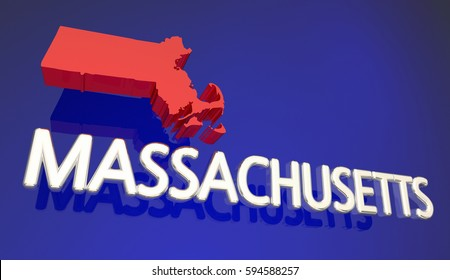 Massachusetts MA Red State Map Boston 3d Illustration