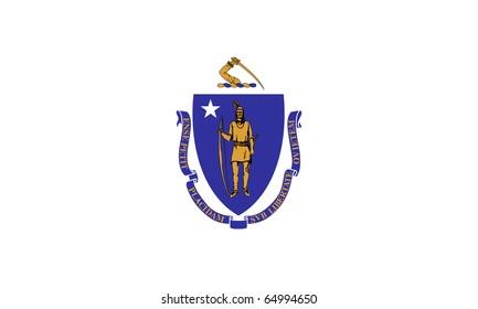 Massachusetts state flag of America, isolated on white background.