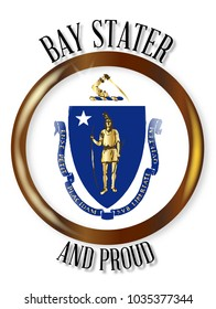 Massachusetts state flag button with a circular border over a white background with the text Bay Stater and Proud