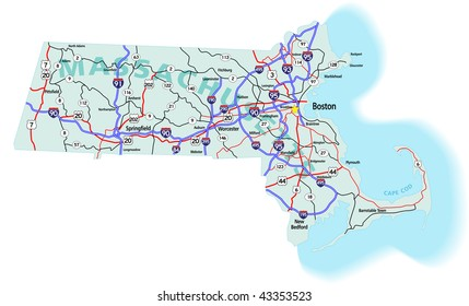 Massachusetts state road map with Interstates, U.S. Highways and state roads.