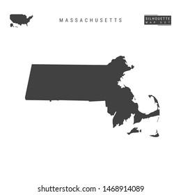 Massachusetts US State Blank Map Isolated on White Background. High-Detailed Black Silhouette Map of Massachusetts.