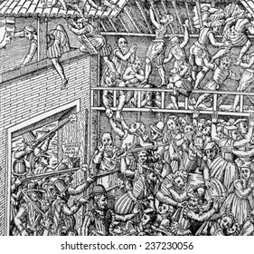 Massacre of a Huguenot congregation in a barn by the Duc de Guise and his men, Vassy, France, 1562.