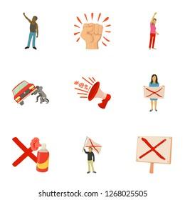 Massacre icons set. Cartoon set of 9 massacre icons for web isolated on white background